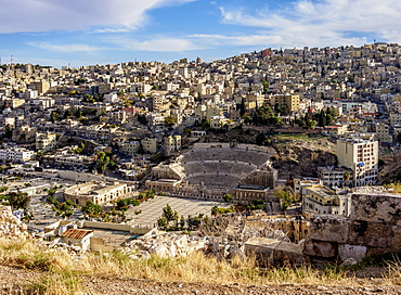 Roman Theatre and The Hashemite Plaza, elevated view, Amman, Amman Governorate, Jordan, Middle East
