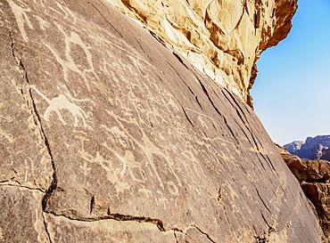 Petroglyphs at Wadi Rum, Aqaba Governorate, Jordan, Middle East