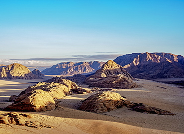Landscape of Wadi Rum, aerial view from a balloon, Aqaba Governorate, Jordan, Middle East