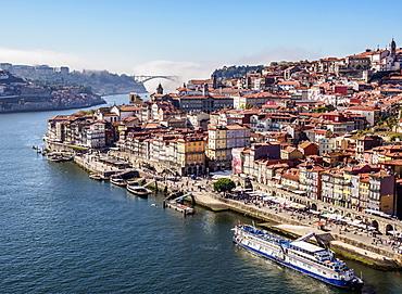 Douro River and Cityscape of Porto, elevated view, Porto, Portugal, Europe