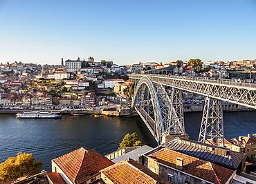 Dom Luis I Bridge, elevated view, Porto, Portugal, Europe