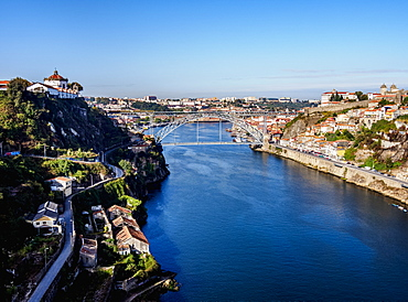 View over Douro River towards Dom Luis I Bridge, Porto, Portugal, Europe