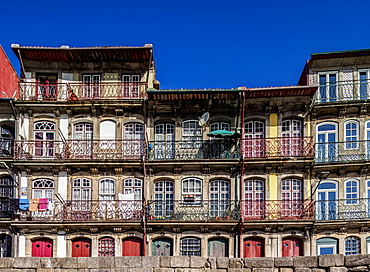 Colourful houses at Cais da Estiva, Porto, Portugal, Europe
