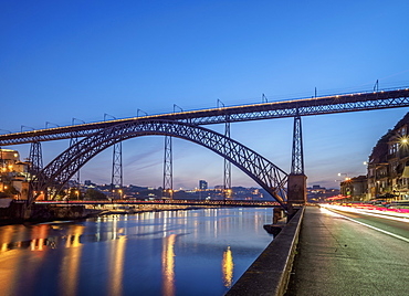 Dom Luis I Bridge and Douro River at dusk, Porto, Portugal, Europe