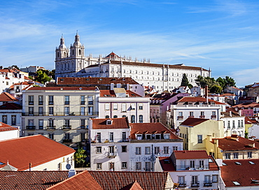 View towards the Monastery of Sao Vicente de Fora, Miradouro das Portas do Sol, Alfama, Lisbon, Portugal, Europe