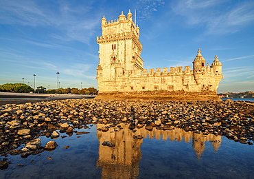 Belem Tower at sunset, UNESCO World Heritage Site, Lisbon, Portugal, Europe