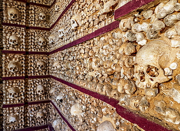 Chapel of Bones, interior, Carmo Church, Faro, Algarve, Portugal, Europe
