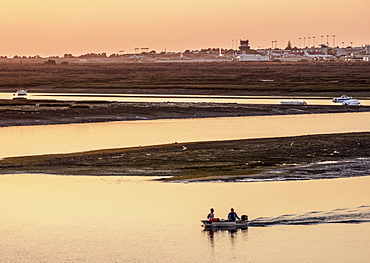 View towards Ria Formosa Natural Park at sunset, Faro, Algarve, Portugal, Europe