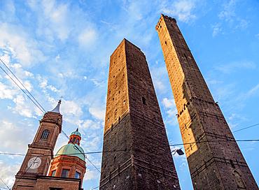 The Two Towers at sunrise, Bologna, Emilia-Romagna, Italy, Europe