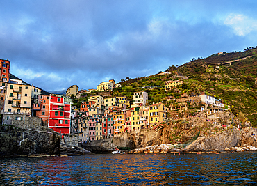 Riomaggiore Village at sunset, Cinque Terre, UNESCO World Heritage Site, Liguria, Italy, Europe