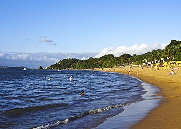 View of the beach in Praia Grande, Ilhabela Island, State of Sao Paulo, Brazil, South America