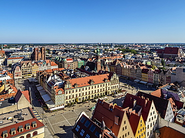 Market Square, elevated view, Wroclaw, Lower Silesian Voivodeship, Poland, Europe