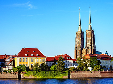 Cathedral and Archbishop Palace at Ostrow Tumski District, Wroclaw, Lower Silesian Voivodeship, Poland, Europe