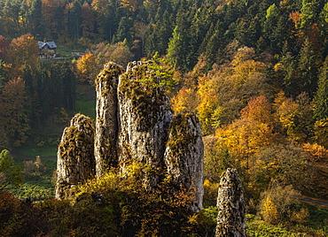 The Glove Rock Formation, Ojcow National Park, Krakow-Czestochowa Upland (Polish Jura), Lesser Poland Voivodeship, Poland, Europe