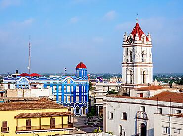 View towards Nuestra Senora De La Merced Church and Plaza de los Trabajadores, Camaguey, UNESCO World Heritage Site, Camaguey Province, Cuba, West Indies, Caribbean, Central America