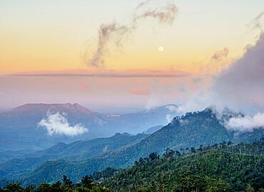 Landscape seen from La Gran Piedra at sunset, Santiago de Cuba Province, Cuba, West Indies, Caribbean, Central America