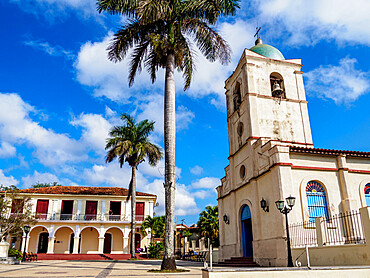 Church at Plaza Mayor (Jose Marti Park), Vinales Town, Pinar del Rio Province, Cuba, West Indies, Caribbean, Central America