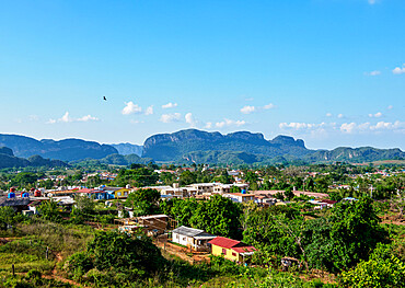 Vinales Town and Valley, elevated view, UNESCO World Heritage Site, Pinar del Rio Province, Cuba, West Indies, Caribbean, Central America
