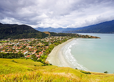 Elevated view of the Praia Barequecaba with Ilhabela Island in the background, State of Sao Paulo, Brazil, South America