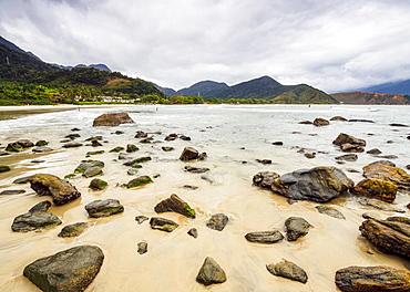 View of the Maresias Beach, State of Sao Paulo, Brazil, South America