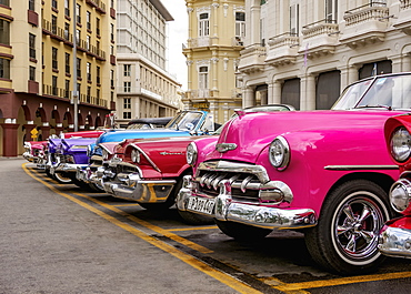 Vintage cars at Central Park, Havana, La Habana Province, Cuba, West Indies, Central America