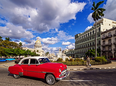 Vintage car at Paseo del Prado, Havana, La Habana Province, Cuba, West Indies, Central America