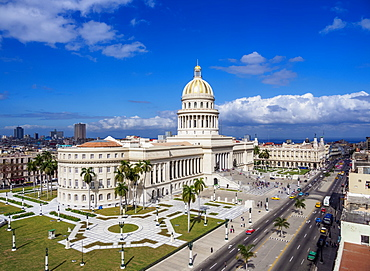 El Capitolio and Paseo del Prado, elevated view, Havana, La Habana Province, Cuba, West Indies, Central America