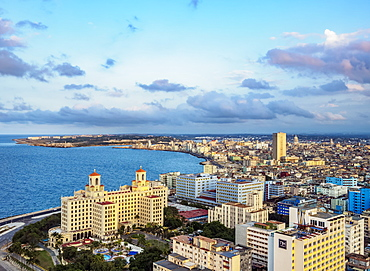 View over Vedado towards Hotel Nacional and El Malecon, Havana, La Habana Province, Cuba, West Indies, Central America