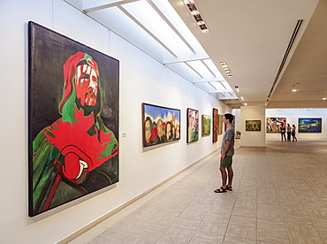 Painting of Che Guevara, National Museum of Fine Arts, Cuban Art Branch, interior, Havana, La Habana Province, Cuba, West Indies, Central America