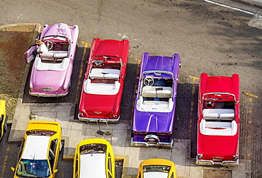 Vintage cars at Central Park, elevated view, Havana, La Habana Province, Cuba, West Indies, Central America
