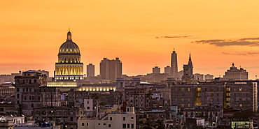View over Habana Vieja towards El Capitolio at sunset, Havana, La Habana Province, Cuba, West Indies, Central America
