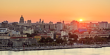 Habana Vieja at sunset, elevated view, Havana, La Habana Province, Cuba, West Indies, Central America