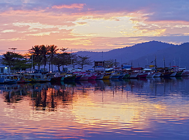 Sunrise over the port in Paraty, State of Rio de Janeiro, Brazil, South America
