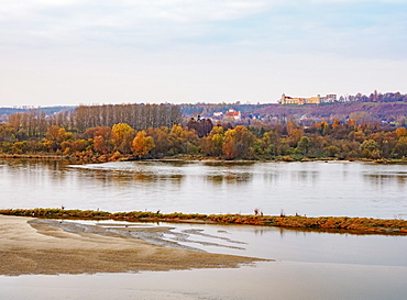 View over The Vistula River towards Janowiec, sunset, Lublin Voivodeship, Poland, Europe