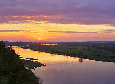 The Vistula River and Krowia Wyspa Nature Reserve at sunset, elevated view, Mecmierz, Lublin Voivodeship, Poland, Europe