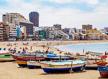 Fishing Boats at Las Canteras Beach, Las Palmas de Gran Canaria, Gran Canaria, Canary Islands, Spain