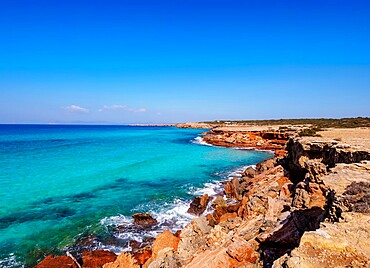 Rocky Coast of Cala Saona, Formentera, Balearic Islands, Spain, Mediterranean, Europe