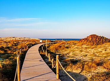 Wooden Jetty to Ses Illetes Beach, Formentera, Balearic Islands, Spain, Mediterranean, Europe