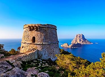 Torre des Savinar and Es Vedra Island, Ibiza, Balearic Islands, Spain, Mediterranean, Europe