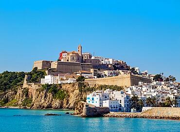 View of the old town, Dalt Vila of Eivissa, Ibiza, Balearic Islands, Spain, Mediterranean, Europe