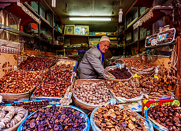 Dried fruits market stall in the Old Medina of Fes, Fez-Meknes Region, Morocco