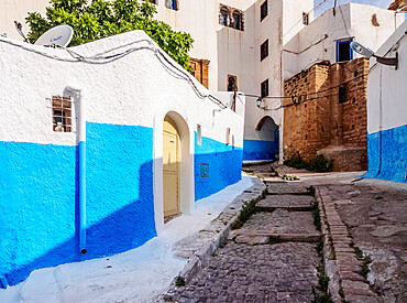 Rue Bazou, blue street in Kasbah of the Udayas, Rabat, Rabat-Sale-Kenitra Region, Morocco, North Africa, Africa