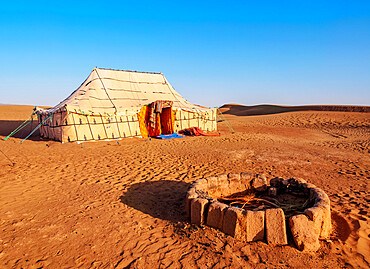 Berber Oasis Camp in Zagora Desert, sunrise, Draa-Tafilalet Region, Morocco, North Africa, Africa