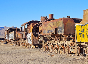 View of the train cemetery, Uyuni, Antonio Quijarro Province, Potosi Department, Bolivia, South America