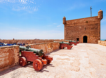Cannons at the city walls and Citadel by the Scala Harbour, Essaouira, Marrakesh-Safi Region, Morocco, North Africa, Africa