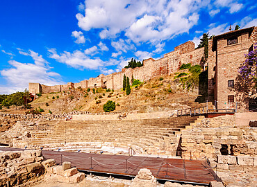 Roman theatre and The Alcazaba, Malaga, Andalusia, Spain, Europe