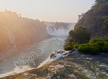 View of the Iguazu Falls at sunset, UNESCO World Heritage Site, Foz do Iguacu, State of Parana, Brazil, South America