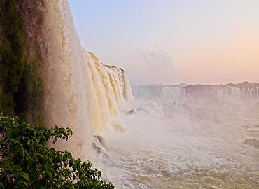 View of the Iguazu Falls at sunset, UNESCO World Heritage Site, Foz do Iguacu, State of Parana, Brazil, South America