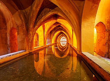 Banos de Dona Maria de Padilla, Baths of Lady Maria de Padilla in Alcazar, UNESCO World Heritage Site, Seville, Andalusia, Spain, Europe