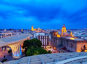 Metropol Parasol (Las Setas) at dusk, La Encarnacion Square, Seville, Andalusia, Spain, Europe